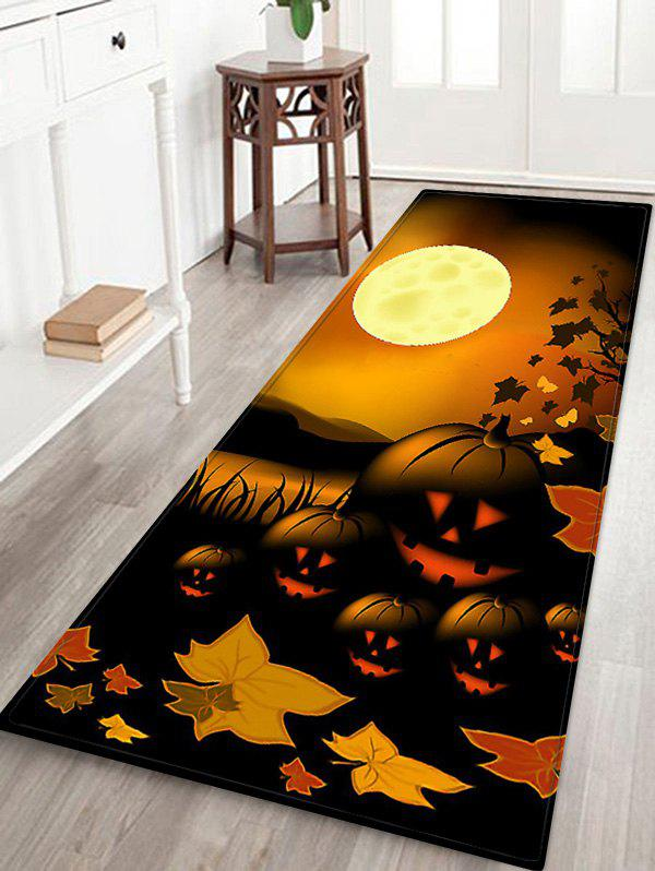Trendy Halloween Night Pumpkin Pattern Water Absorption Area Rug