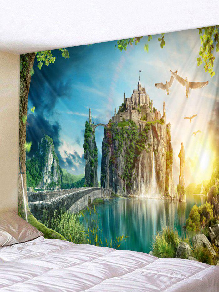 Affordable Wall Hanging Art Mountain Top Castle Print Tapestry