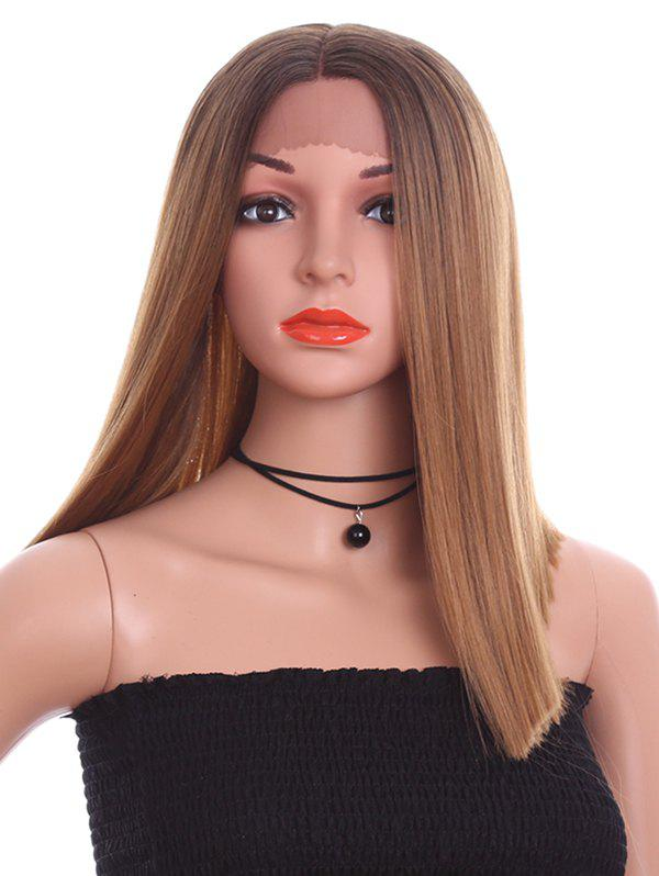 Best Medium Center Parting Colormix Straight Synthetic Lace Front Wig