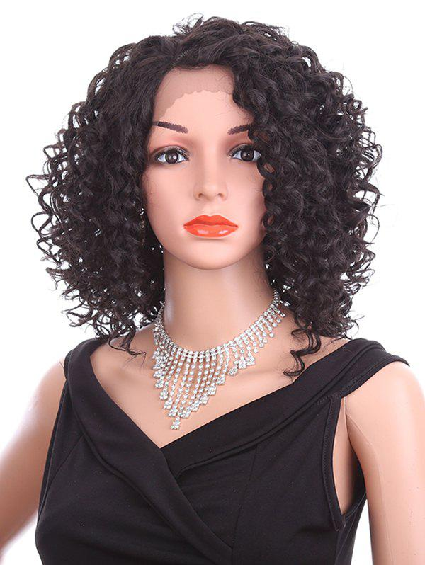 Cheap Short Oblique Bang Curly Lace Front Synthetic Wig