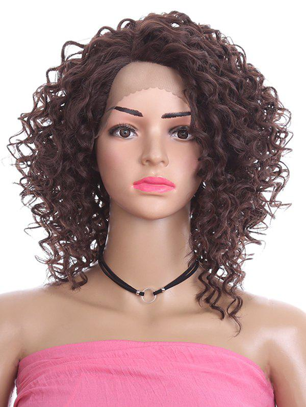 Outfit Short Oblique Bang Curly Lace Front Synthetic Wig