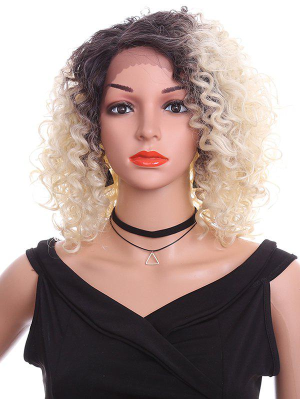 Hot Short Oblique Bang Curly Lace Front Synthetic Wig