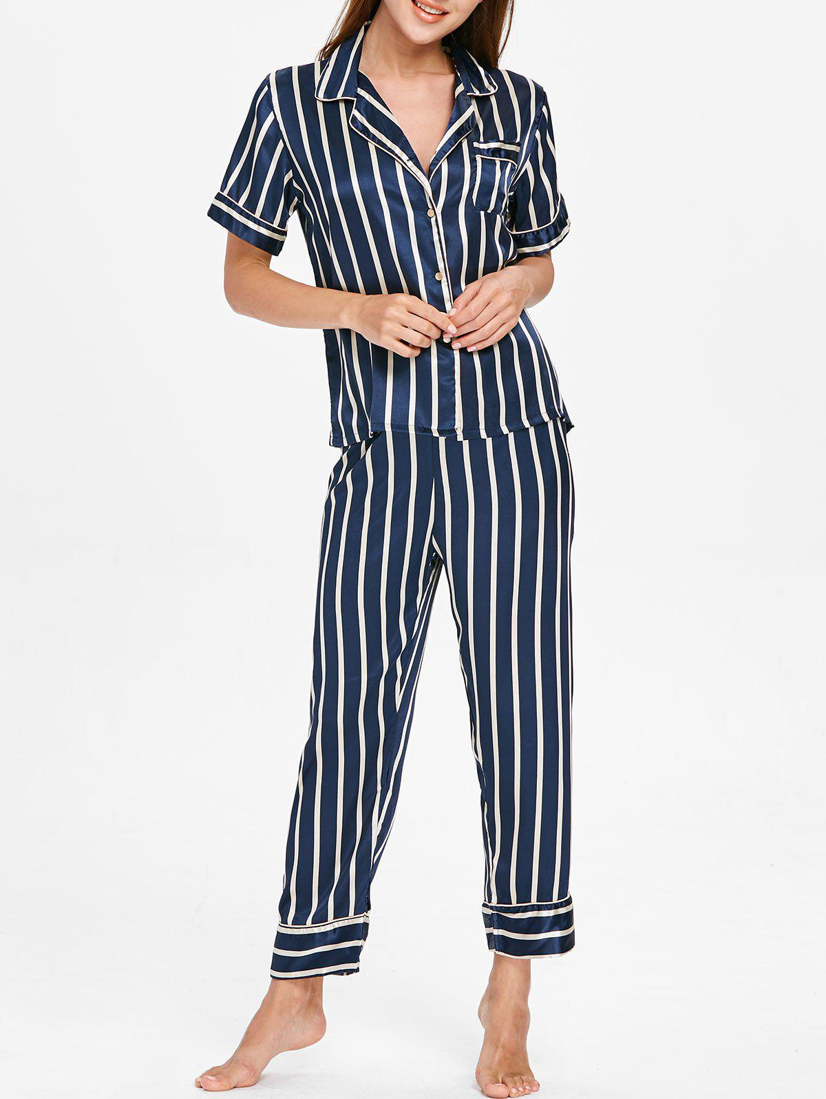 Discount Striped Print Sleepwear Suit