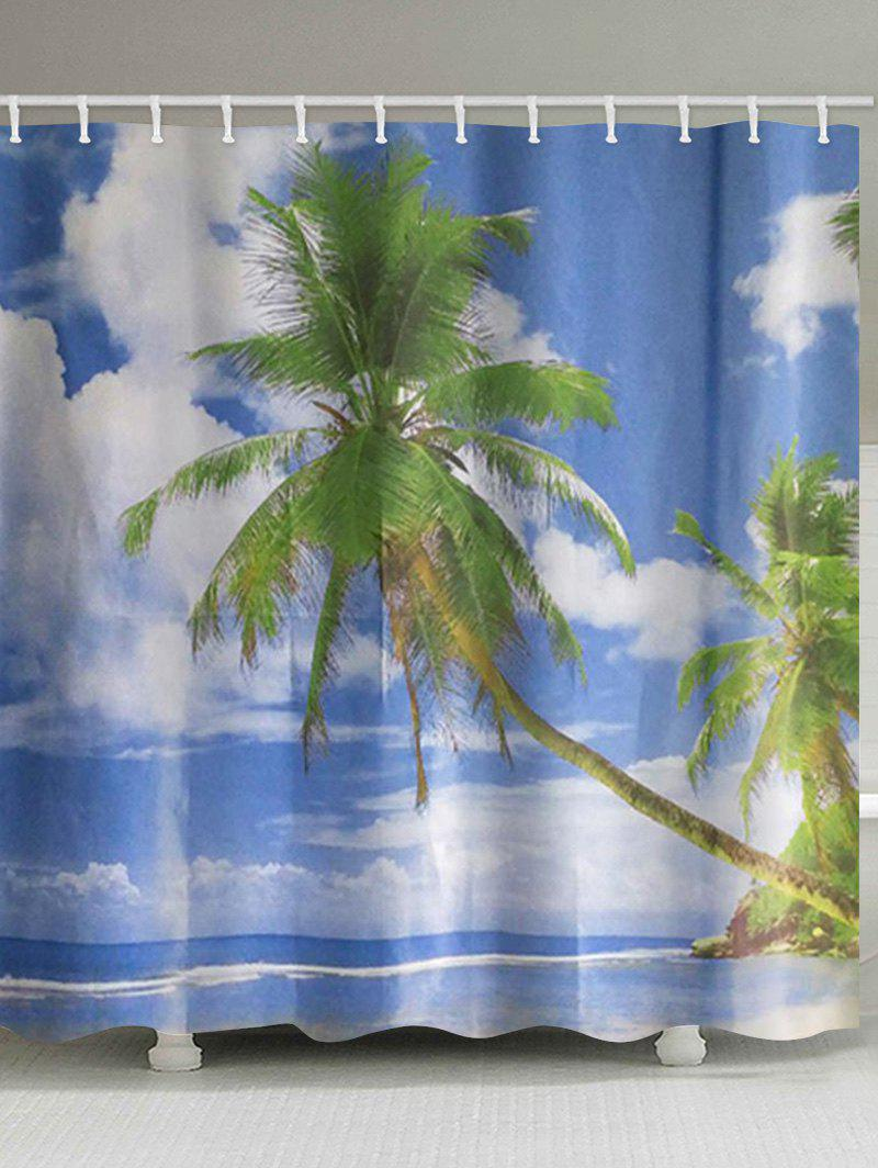 Shops Palm Tree Beach Print Waterproof Bathroom Shower Curtain