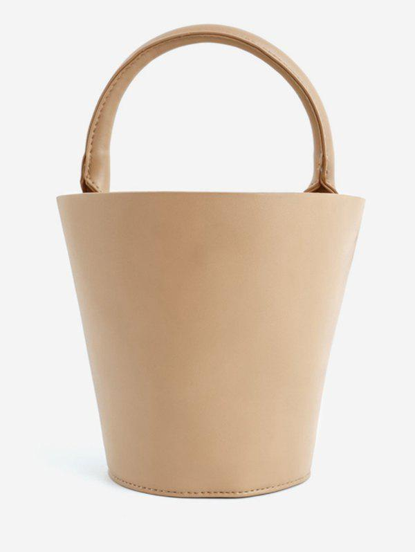 Sale Bucket Solid PU Leather Retro Tote Bag