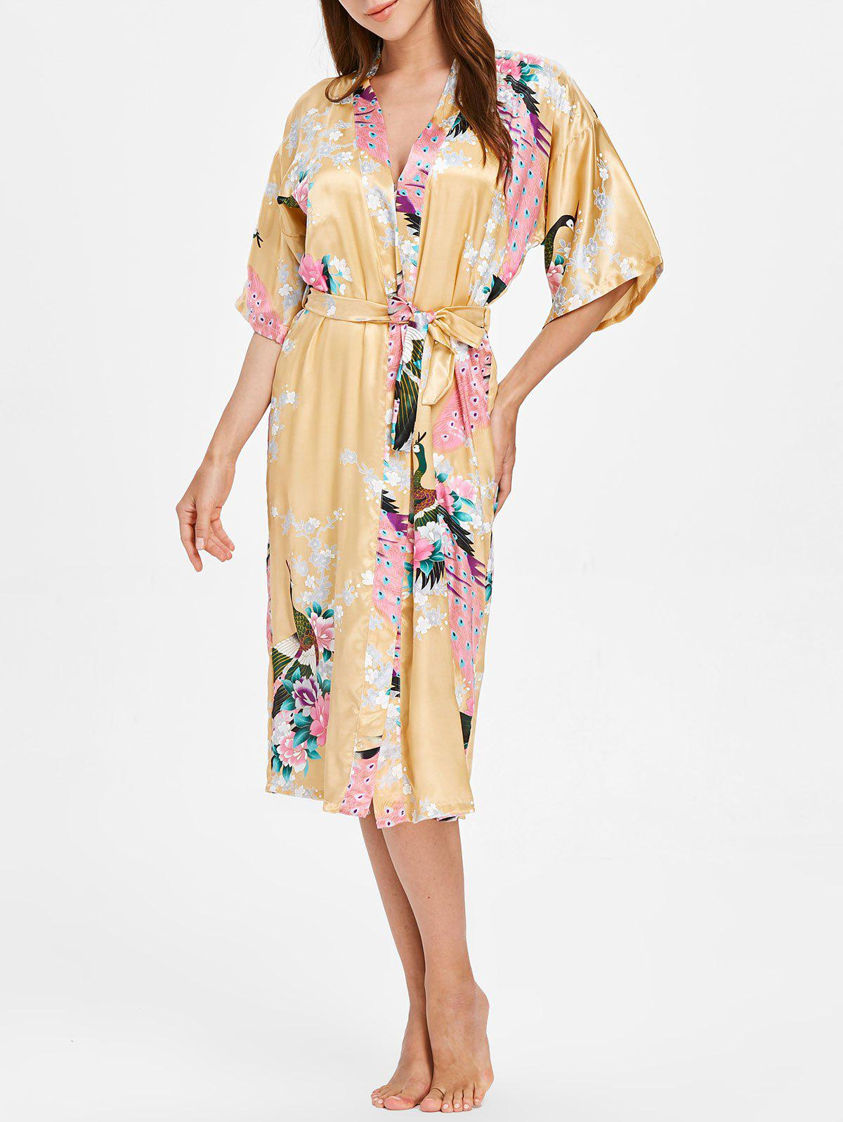 Fashion Flower Printed Sleeping Robe with Belt