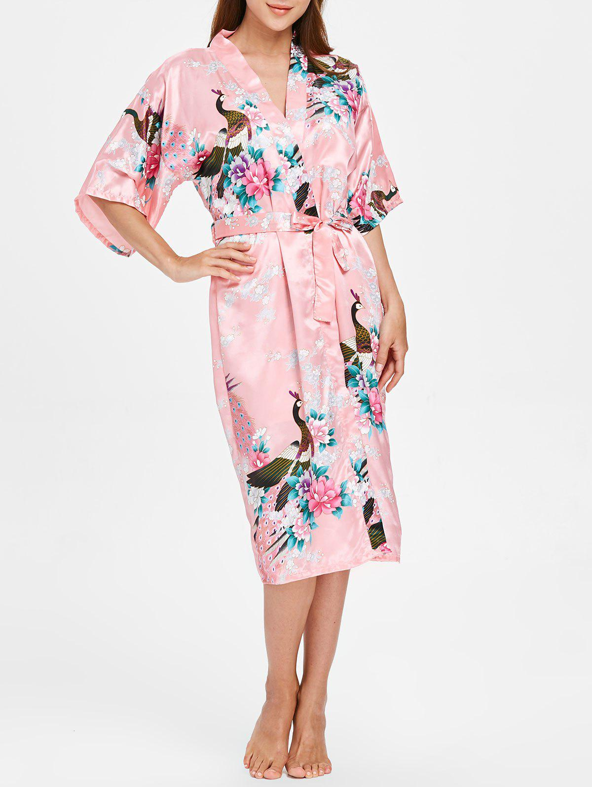 Hot Flower Printed Sleeping Robe with Belt