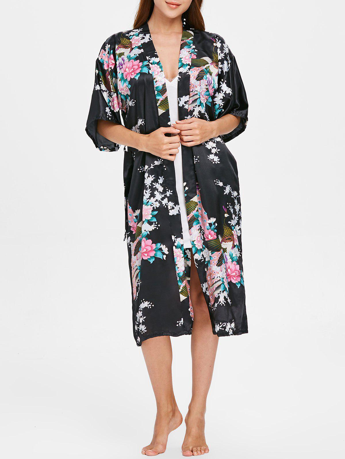 Sale Flower Printed Sleeping Robe with Belt