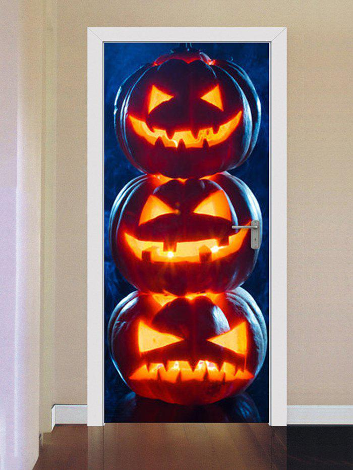 Fancy Halloween Pumpkins Print Door Cover Stickers