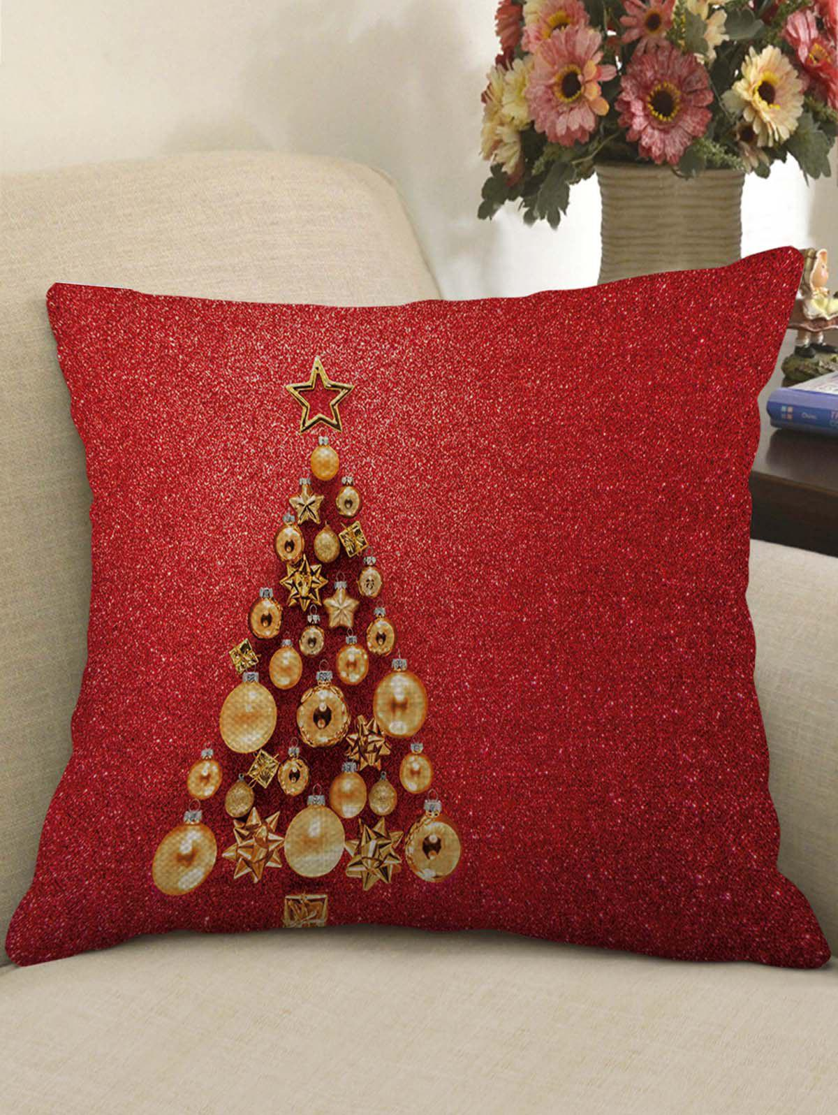 Affordable Christmas Tree Print Decorative Linen Pillowcase