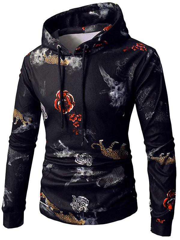 Affordable Rose Tiger Print Pocket Elastic Fleece Hoodie