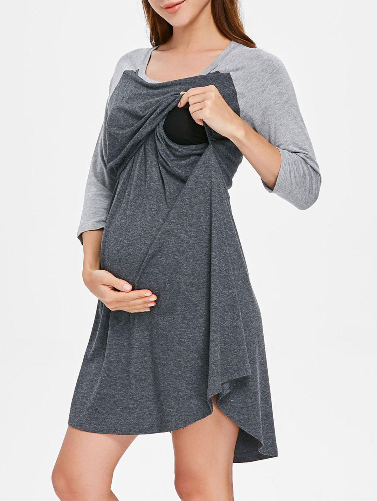 Fashion Round Collar Color Block Maternity Sleep Dress