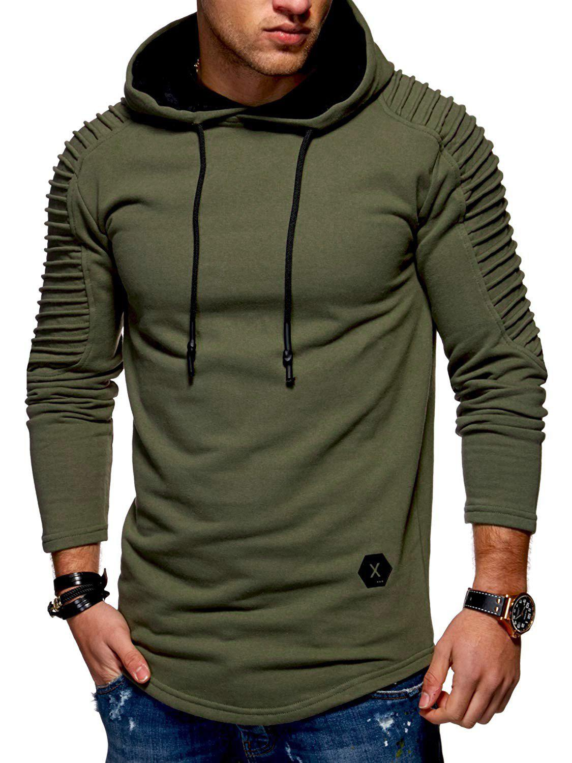 Hot Solid Pleated Sleeve Hem Curved Long Fleece Hoodie