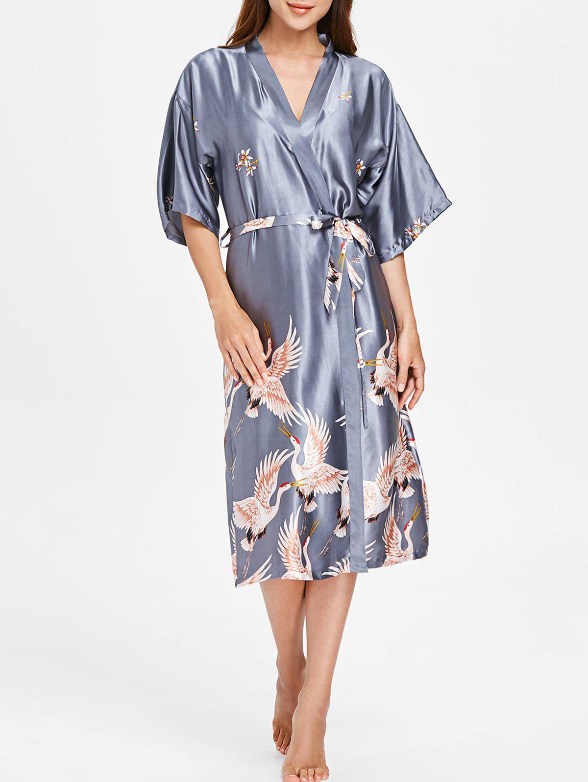 Trendy Drop Shoulder Crane Print Sleeping Robe