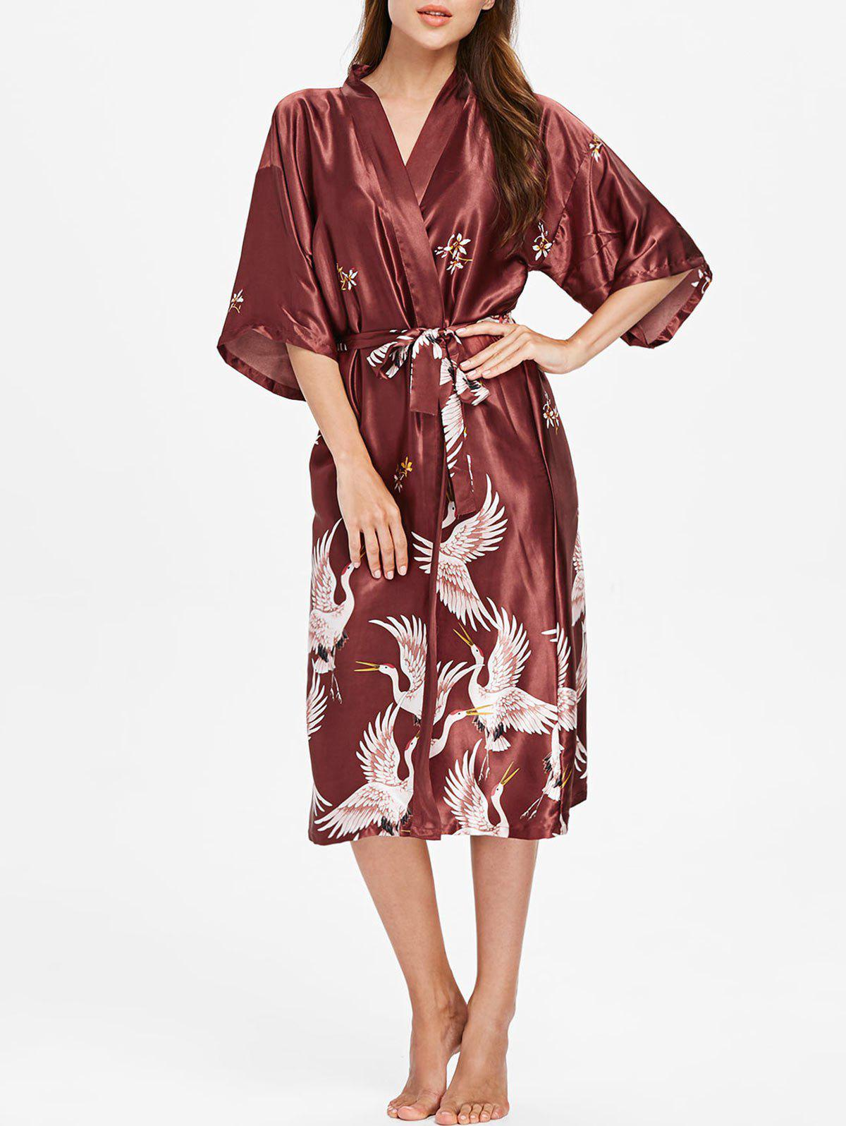 Best Drop Shoulder Crane Print Sleeping Robe