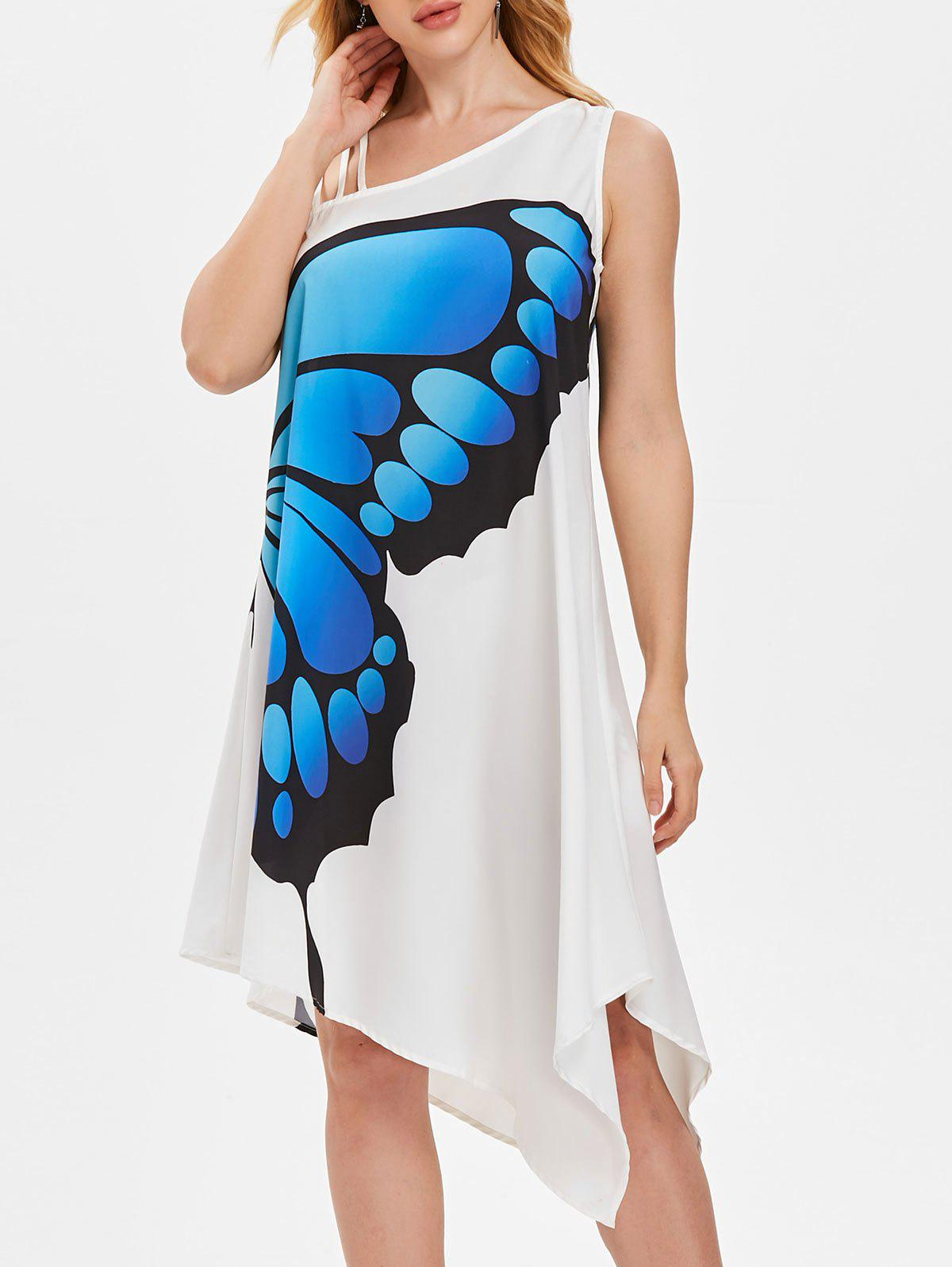 Discount Asymmetrical One Shoulder Butterfly Trapeze Dress