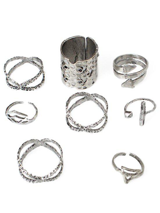 Chic Bohemian Hollow Out Carved Metal Ring Set