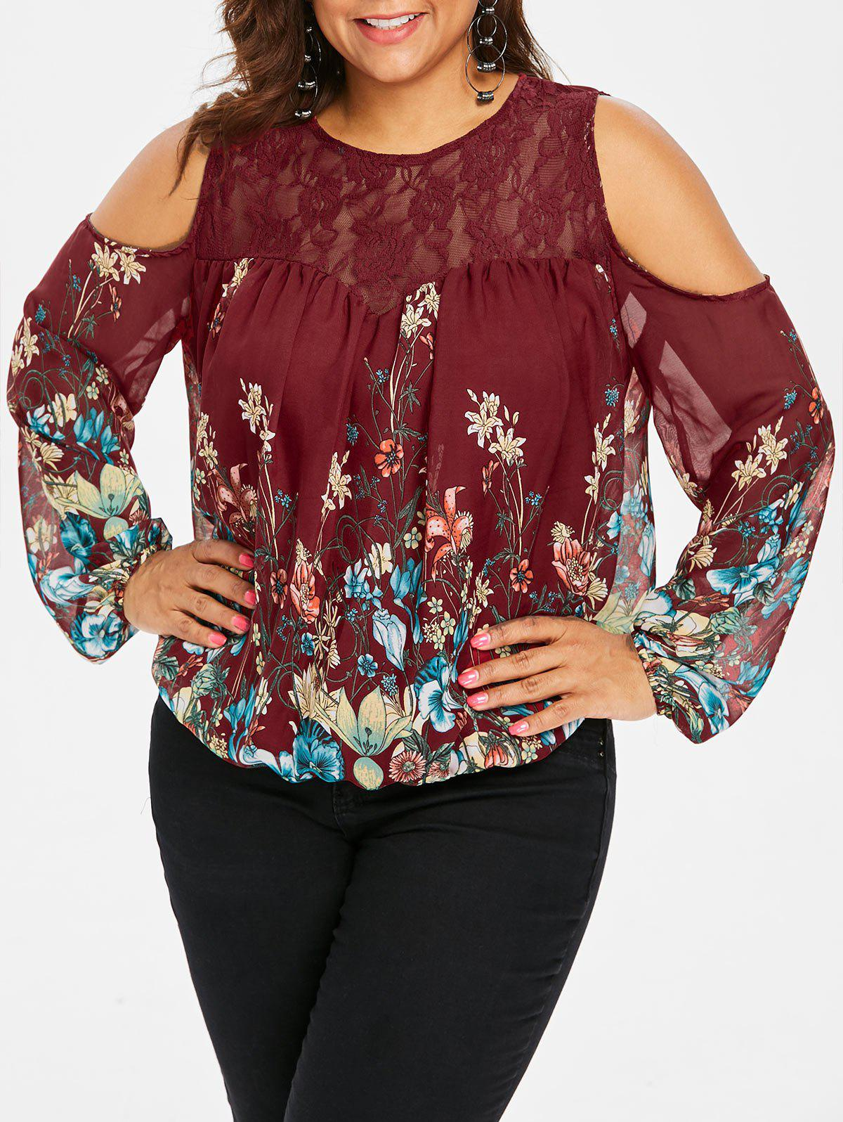 Trendy Plus Size Lace Yoke Cold Shoulder Blouse
