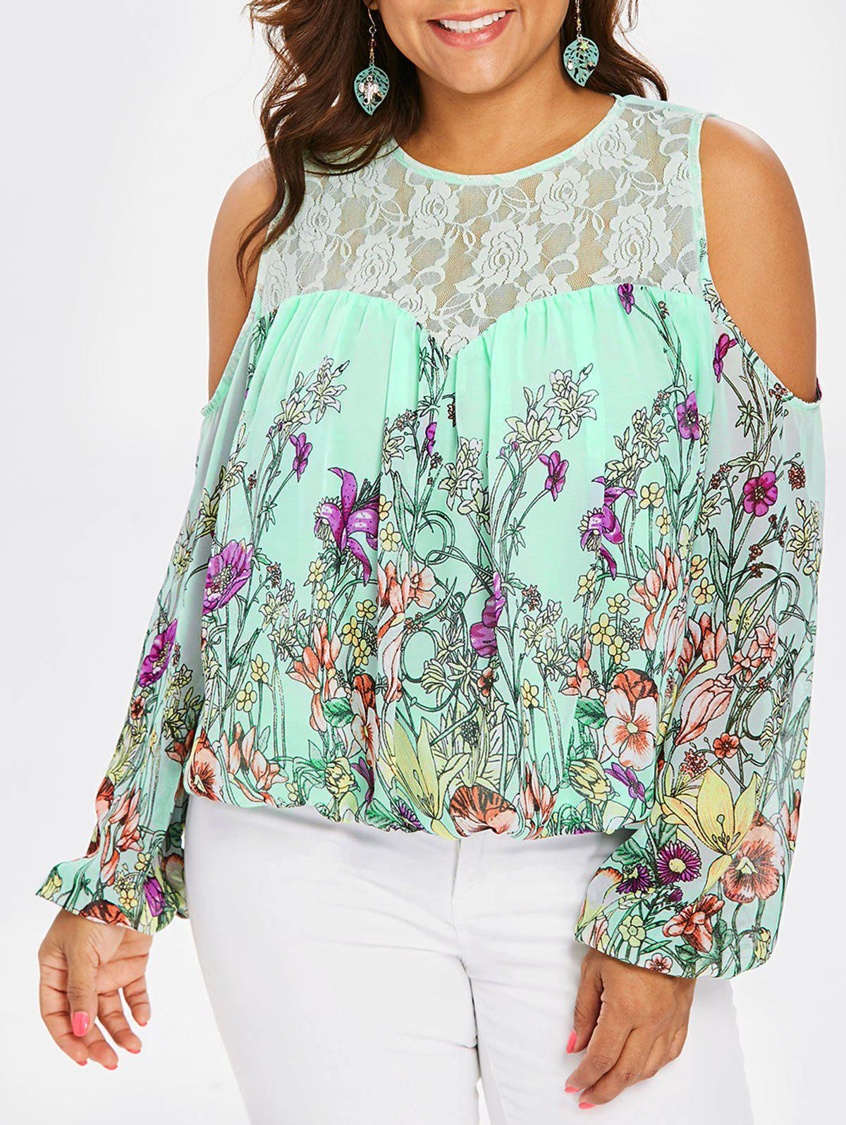 Cheap Plus Size Lace Yoke Cold Shoulder Blouse