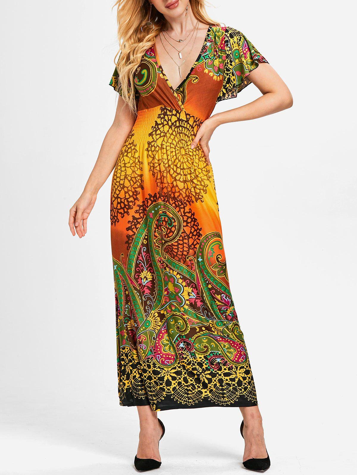 Outfit Plunging Neckline Ethnic Print Long Dress