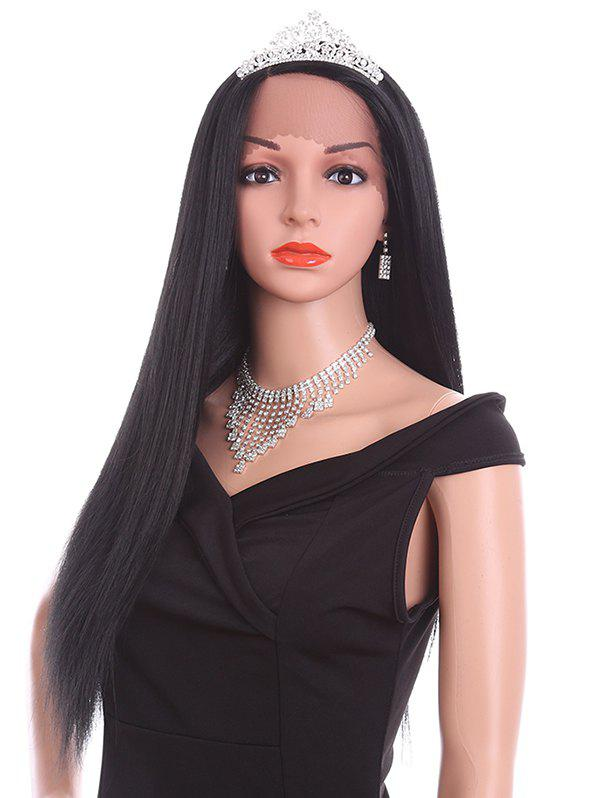Sale Long Side Parting Straight Lace Front Synthetic Wig
