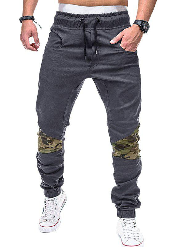 Sale Drawstring Elastic Waistband Camouflage Patchwork Jogger Pants