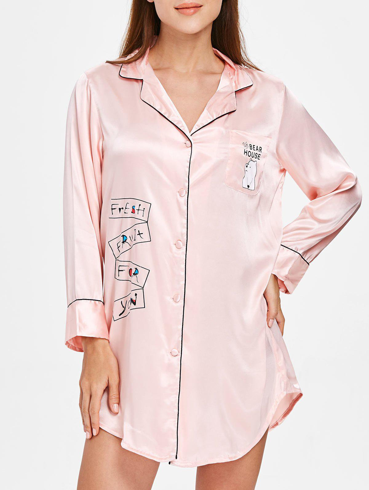 Chic Bear Printed Sleepwear Shirt Dress