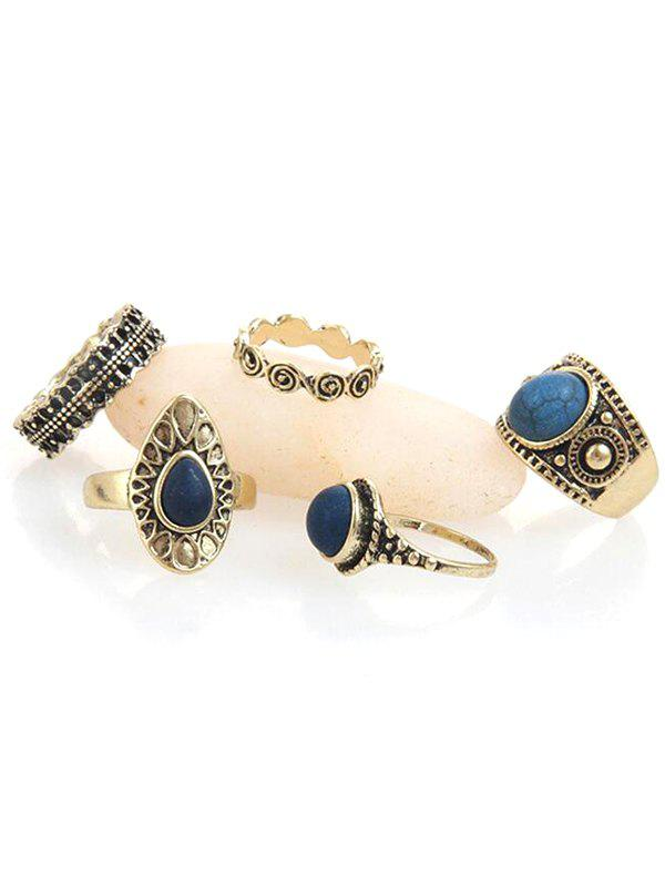 Chic Vintage Faux Sapphire Inlaid Metal Rings Set