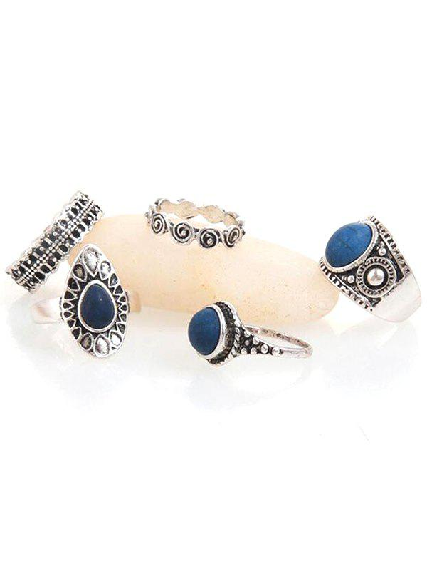 Discount Vintage Faux Sapphire Inlaid Metal Rings Set