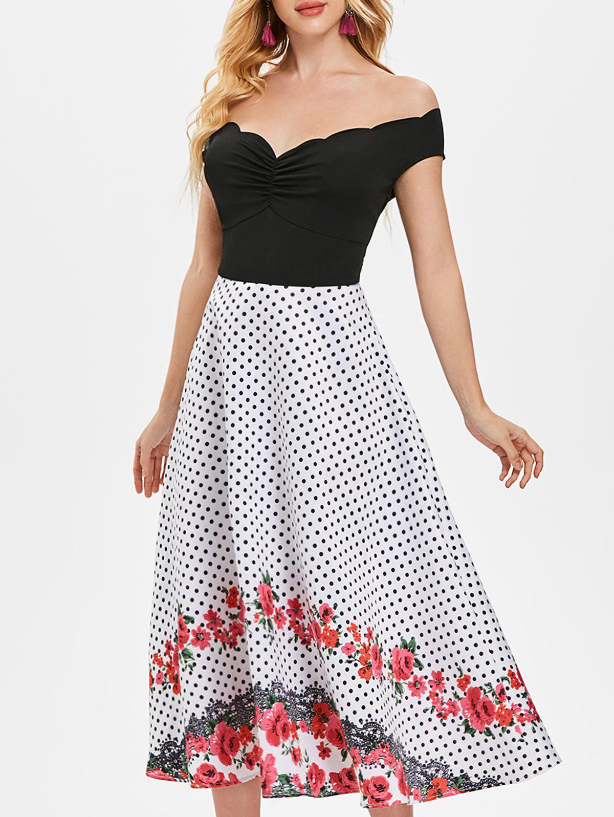 Fashion Polka Dot Floral Trim High Waist Dress