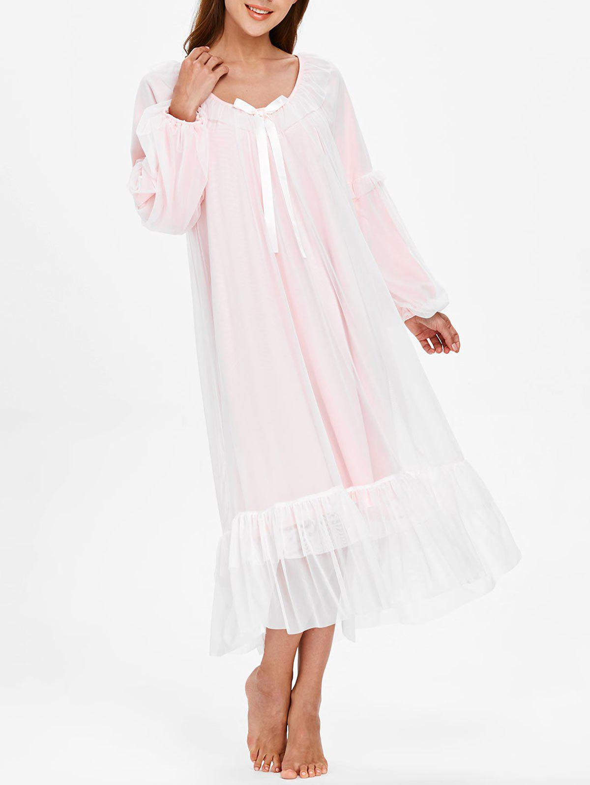Online Long Sleeve Lace Bowknot Nightgown Dress