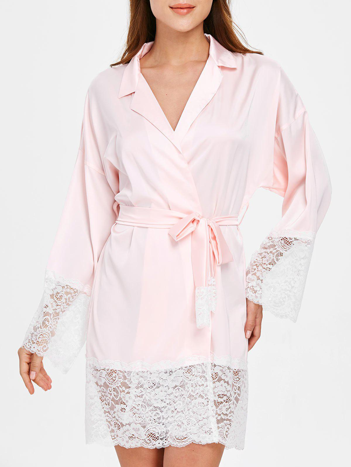 Outfits Lace Insert Satin Sleeping Robe with Belt