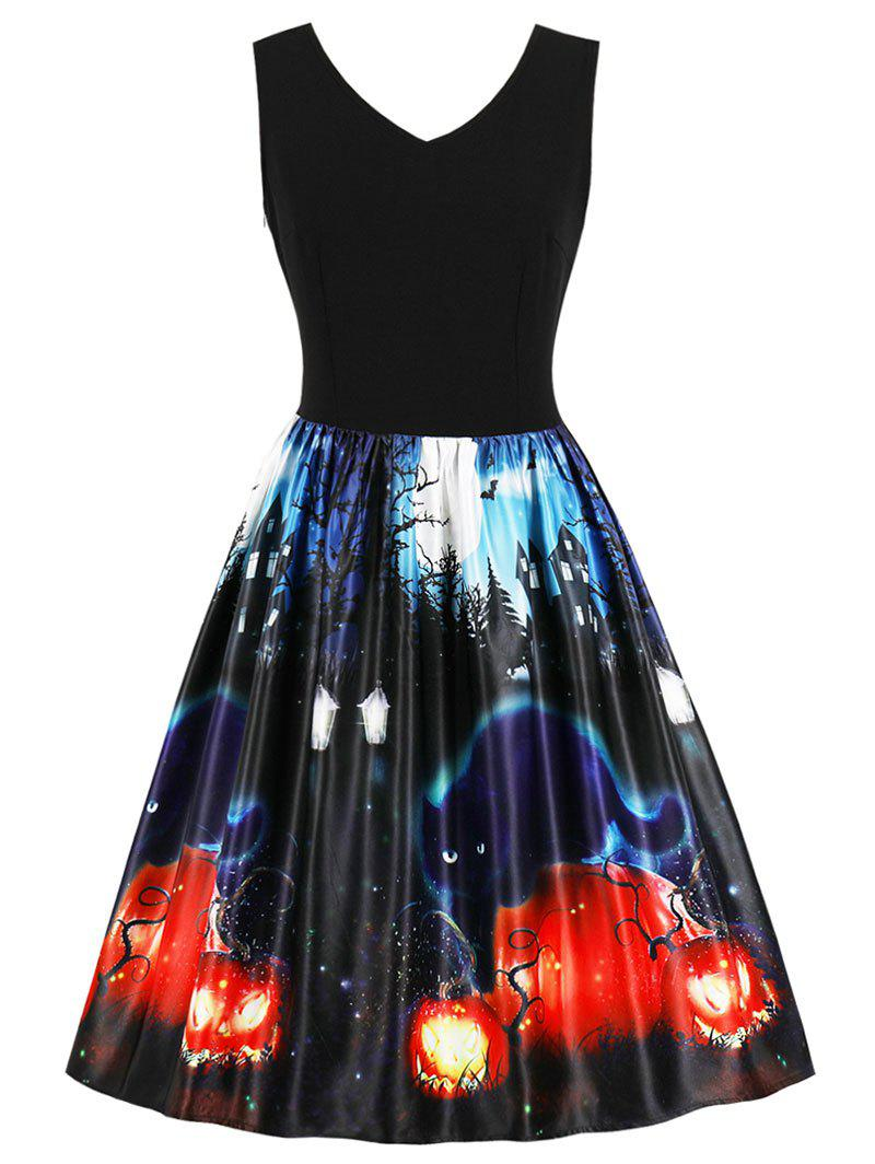 Best Halloween Vintage Printed Swing Dress