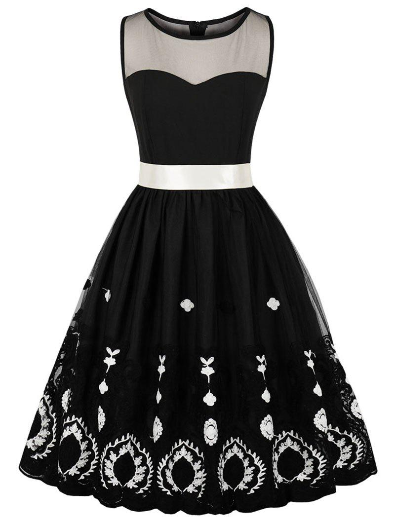 Outfit Mesh Panel Embroidery Skater Dress