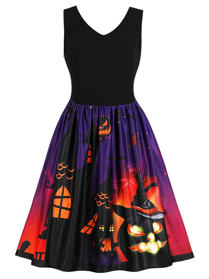 Discount Halloween Retro Pumpkin Print Flare Dress