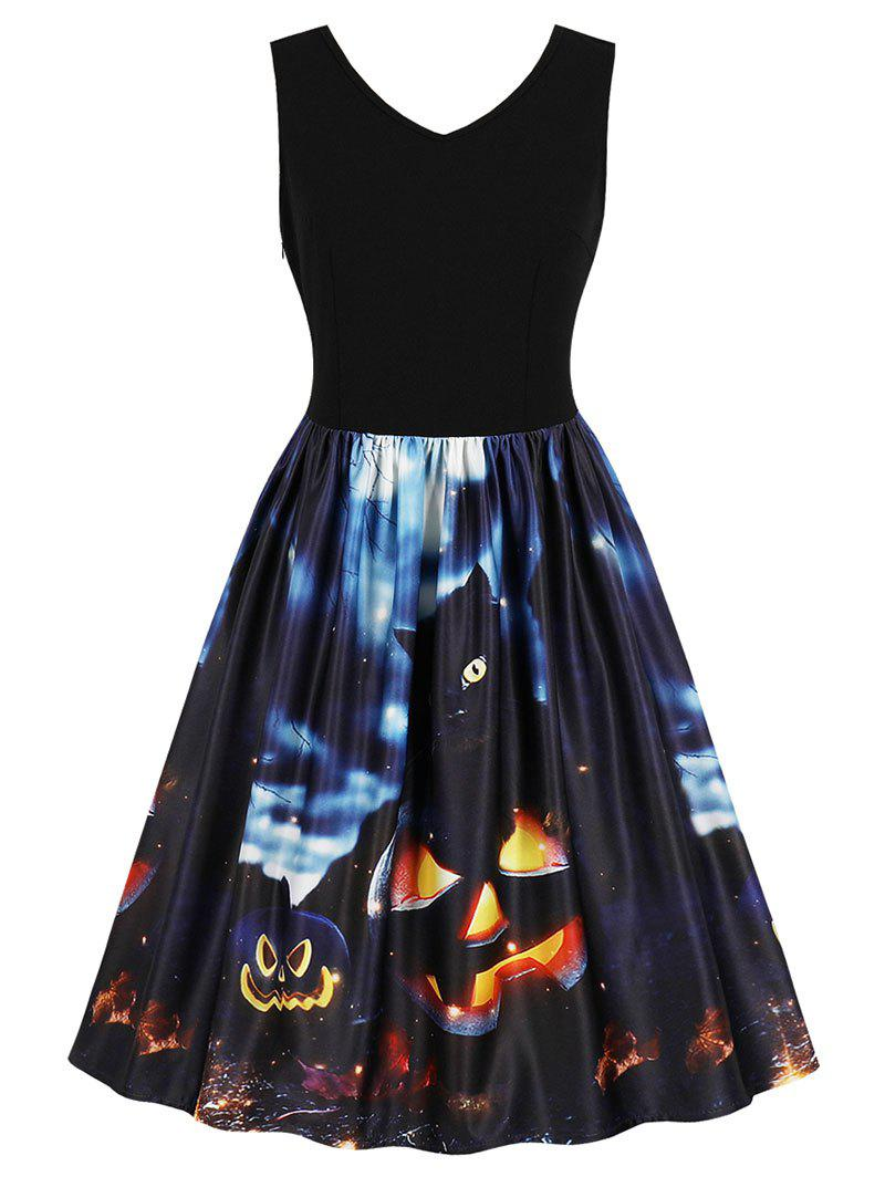 Fancy Vintage Halloween Fit and Flare Dress