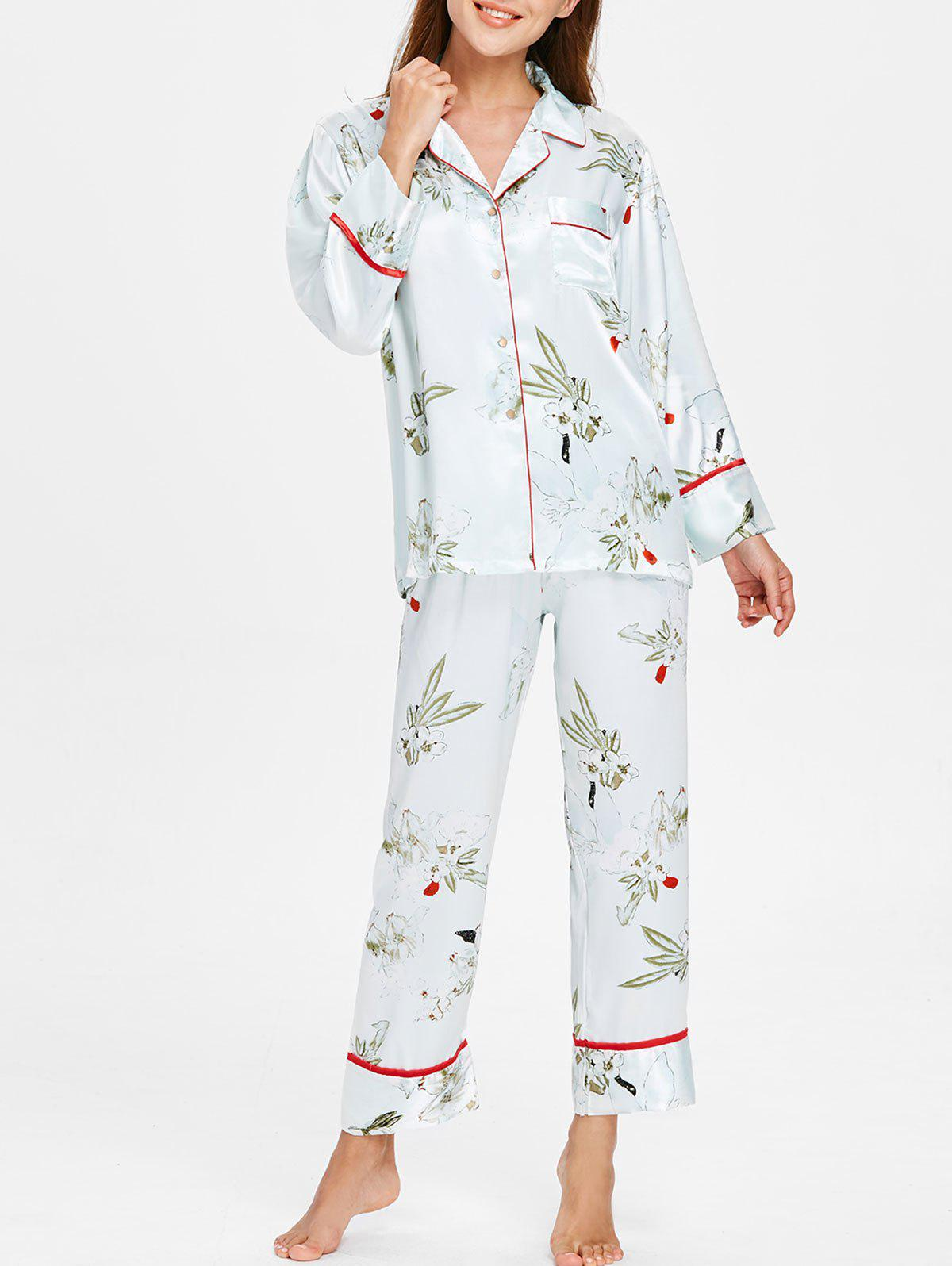 Trendy Flower Printed Satin Sleepwear Set