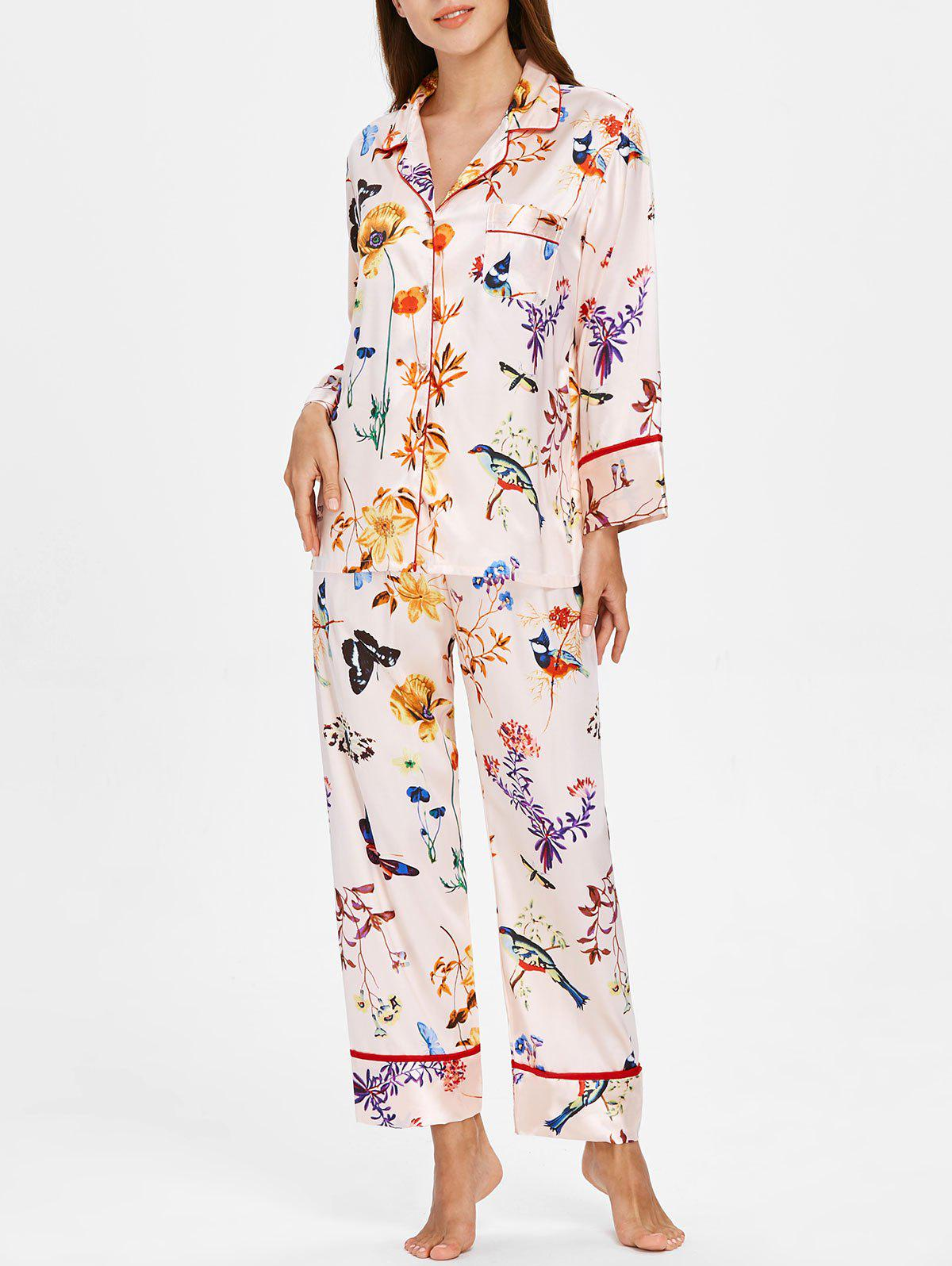 Discount Flower Butterfly Printed Satin Nightgown Set