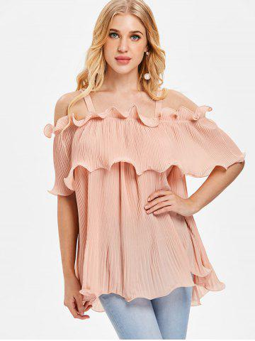 Cold Shoulder Overlay Pleated Blouse