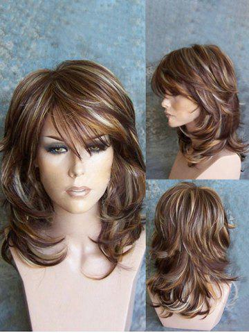 f35a4eecf03 Medium Inclined Bang Highlighted Layered Slightly Curled Synthetic Wig