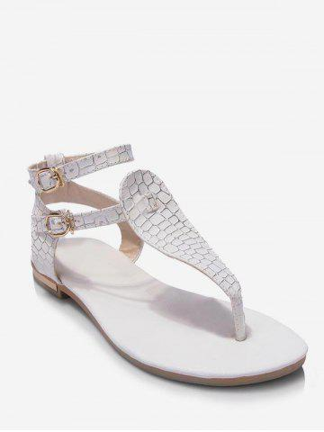 Plus Size Leisure Buckled T Strap Thong Sandals
