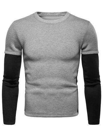 Contrast Faux Two Piece Sleeve Thick Sweatshirt