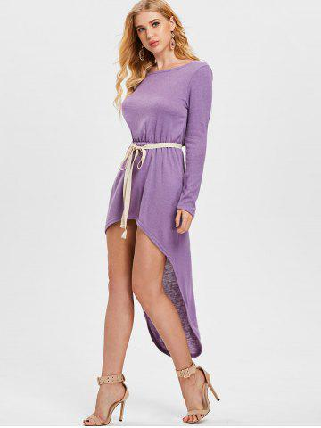 Belted Elastic Waist High Low Dress