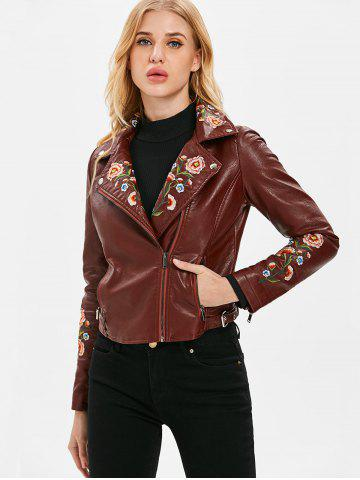 Embroidered PU Motorcycle Jacket