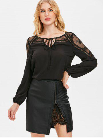 Sheer Lace Panel Front Tie Chiffon Blouse