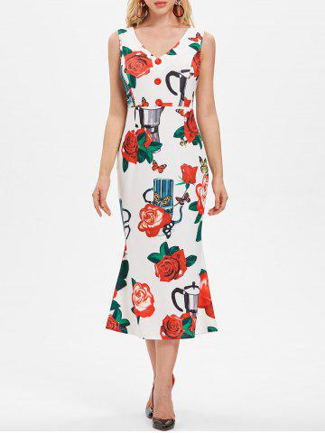Rose Pattern Sleeveless Midi Dress