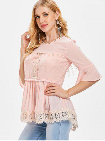 Flared Sleeve Crochet Lace Blouse