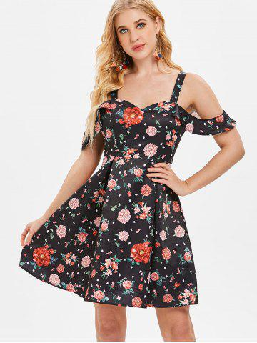 Floral Print Cold Shoulder Flared Dress