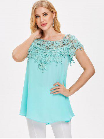 Applique Lace High Low Blouse