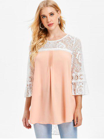 Three Quarter Lace Sleeve Chiffon Blouse